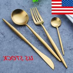 Western Gold Plated Tableware Set Stainless Steel Knife Fork