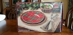 222 FIFTH WEXFORD PLAID DINNER SALAD PLATE AND BOWL SET OF 1