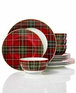 222 Fifth Wexford Plaid Holiday 12-Pc. Dinnerware Set