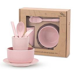 HornTide 6-Piece Wheat Straw Dinnerware Set Bowl Cup Plate F