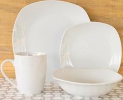 10 Strawberry Street White 32-Piece Square Dinnerware Set Se