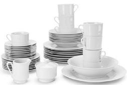 10 Strawberry Street White 45-Piece Dinnerware Service for 8