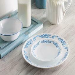 Corelle White Cornflower Dining Plate Set 16-Piece Dinnerwar