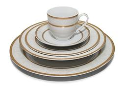 """Royalty Porcelain """"Honeycomb"""" 20-Piece White & Gold Dinnerwa"""