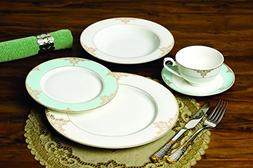 "Royalty Porcelain ""Gloria"" 20-Piece White and Heaven Blue Di"