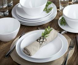White  Home Dinnerware Set, 12-Piece Service for 4