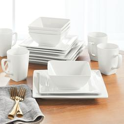 Better Homes and Gardens White Porcelain 16 Pc Square Dinner