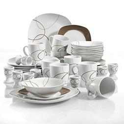 VEWEET 40-Piece White Porcelain Dinnerware Set Brown Lines P
