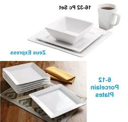 White Square 16-32 Piece Porcelain Dinnerware Bowl Mug Set o