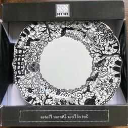 222 Fifth WICCAN LACE BLACK WHITE Dinner Plate Set Of 4 Skul