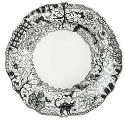 222 Fifth Wiccan Lace Dinner Plates, Set of 4, Black White H