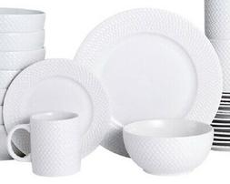 Pfaltzgraff Winston 32 Piece Embossed White Dinnerware Set S