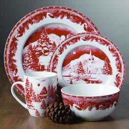 Gibson Elite Winter Cottage 16 Piece Dinnerware Set Red Holi