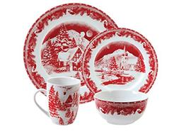 Gibson Elite Winter Cottage 16 Piece Dinnerware Set, Red
