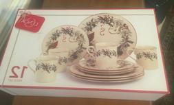 Lenox Winter Greetings 12 Piece Dinnerware Set-NIB-Brand New