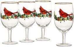 Lenox Winter Greetings Cardinal Iced Beverage Glasses , Clea