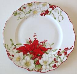 222 Fifth Winter Harmony Holiday Dinner Plates, Set of 4, Po