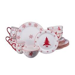 Euro Ceramica Winterfest Collection Festive 16 Piece Ceramic