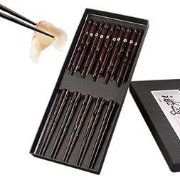 Mainiusi Wood Chopsticks Set Reusable Chopstick with Case 5