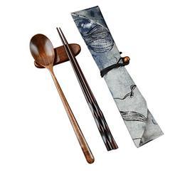 2PC Wooden Chopsticks And Spoon set Cutlery Longay Dinnerwar