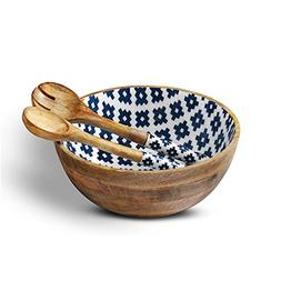 Wooden Salad Bowl Colorful Serving Bowls with 2 Servers, Man