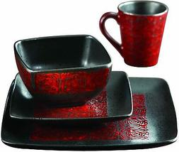 American Atelier 5906-16-RB Yardley Dinnerware Set, Red