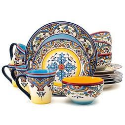 Zanzibar Boho Dishes 16 Piece Earthenware Dinnerware Plate B
