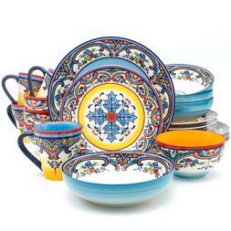 Euro Ceramica Zanzibar Collection Vibrant 20 Piece Oven Safe