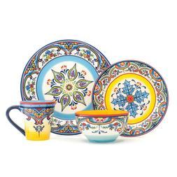Euro Ceramica Zanzibar Collection Vibrant 16 Piece Oven Safe