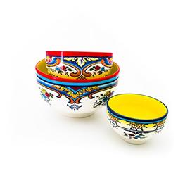 Euro Ceramica Zanzibar 3 Piece Mixing Bowl Set Multicolor Ch
