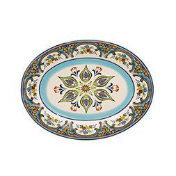 """Euro Ceramica Zanzibar Collection Vibrant 18"""" Ceramic Oval S"""