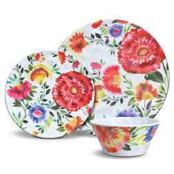 Kim Parker Zinnia Garden 12 Piece Melamine Dinnerware Set
