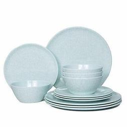 ZLruyao Melamine Dinnerware Set -12 Pcs Unbreakable Dinner D